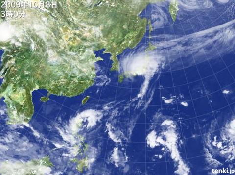 2009年10月8日3時の天気図