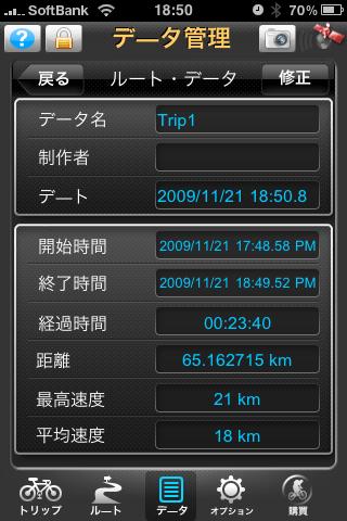 自転車走行記録
